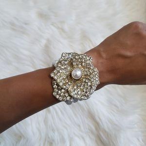 Pearl + Crystal Statement Bracelet!